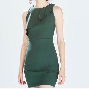 Zara TRF Dark Green dress with ruffle detail